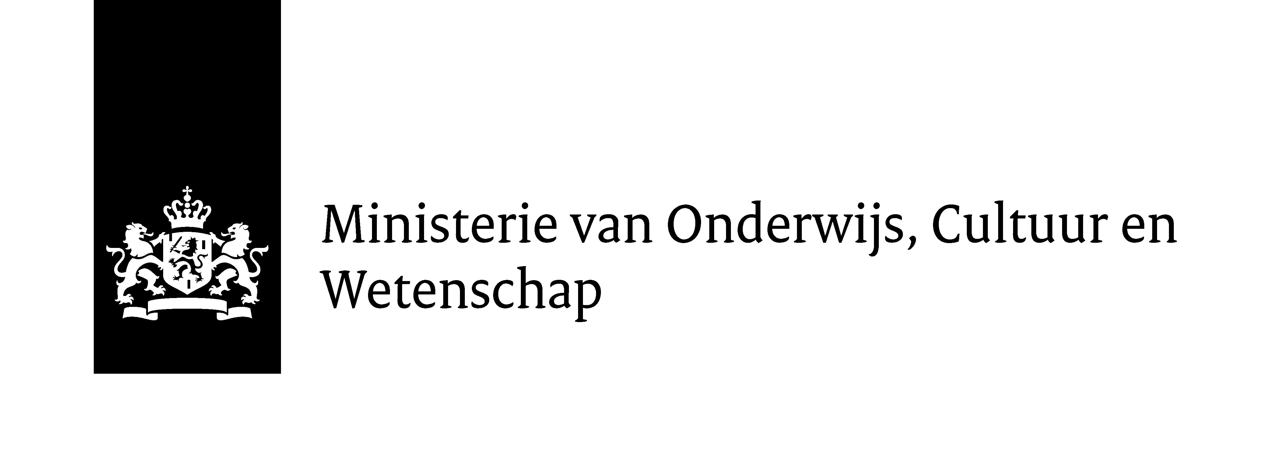 logo Ministerie van Onderwijs, cultuur en wetenschap - zwart/wit