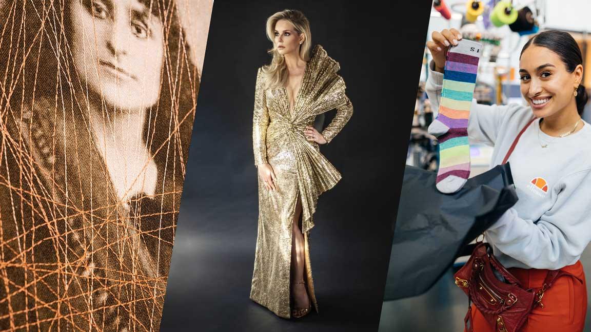 collage: links close up van doek, midden persfoto van Chantal Janzen in gouden jurk en rechts foto van bezoeker met sokken van de Design Studio